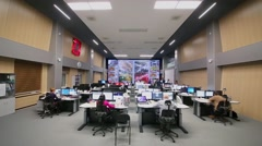 Operations room of Road Traffic Organization Center with workers Stock Footage