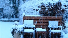 Snowflakes falling down, winter landscape garden,  texture Stock Footage