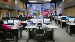 People work in operations room of data center, Moscow Stock Footage