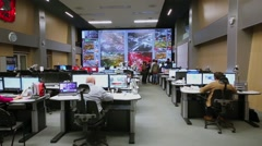 Panorama of Road Traffic Organization Center operations room Stock Footage