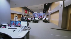 Panorama of operations room in Road Traffic Organization Center Stock Footage