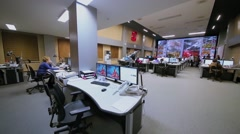 Data center operations room with working people, Moscow Stock Footage
