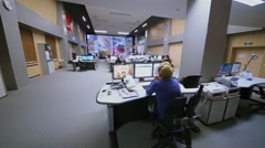 Road Traffic Organization Center operations room with workers Stock Footage