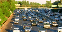 Traffic jam and congestion during rush hour on California Freeway Los Angeles 4K Stock Footage