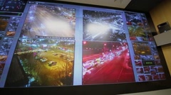 Night traffic on display wall of data center, Moscow Stock Footage