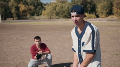 Batter in front of Catcher During Baseball Game Stock Footage