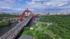 Megalopolis with day traffic on prospect Marshala Zhukova Stock Footage