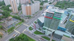 Kuntsevo Plaza multifunctional complex on street with traffic Stock Footage