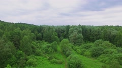 Green forest and cityscape on horizon at summer cloudy day Stock Footage