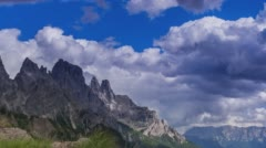 Heavy rain clouds roll over an Italian mountain range. Time lapse. Stock Footage
