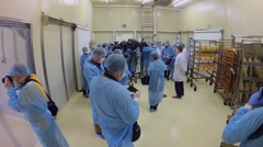 Reporters in special uniform shoots goods in storage of fish factory Stock Footage