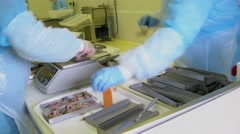 People sort fish in workshop of fish factory. Timelapse Stock Footage
