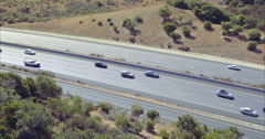 Aerial view over freeway in Silicon Valley palo Alto Stock Footage
