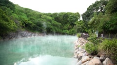 4K, tourist people visit the famous Hot Water Thermal Spring in Taiwan-Dan Stock Footage
