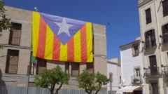 Catalan flag on the house in Tossa de Mar Stock Footage
