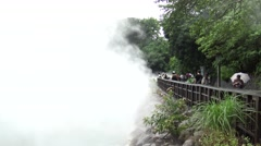 4K, tourist people visit Hot Water Thermal Spring in Taiwan. A Raining day -Dan Stock Footage