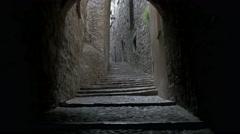 Dark lane in Girona, Spain Stock Footage