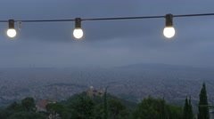 View of Barcelona at night Stock Footage