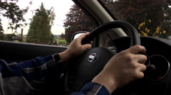 Inside shoot of man driving a Nissan car with 4k resolution Stock Footage