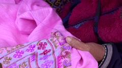 Mien hilltribe embroider pattern colored thread. Stock Footage