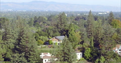 Aerial view of houses in Palo Alto, Silicon Valley Stock Footage