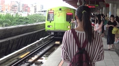 4K Asian people travel at Subway, pass inside the train in Beitou station-Dan Stock Footage