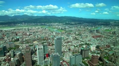 4K Aerial view Taipei city buildings with river and Mountain. Traffic drive-Dan Stock Footage