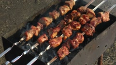 Kebab in nature. Hand corrects skewers with chunks of steaming meat. Stock Footage