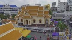Temple near Wat Traimit (temple of Gold Buddha) Stock Footage