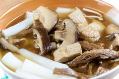 Vegetarian chinese roll noodle soup Stock Photos
