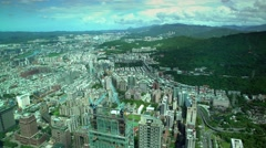 4K Aerial view of Business district, office towers and traffic driving -Dan Stock Footage