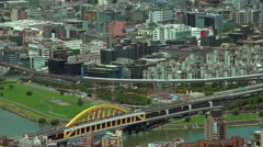 Aerial view of Taipei city buildings with river and Mountain-Dan Stock Footage