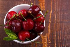Red ripe cherries Stock Photos