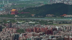 Aerial view of landmark and tourist attraction of Yuanshan Grand Hotel -Dan Stock Footage