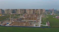 Construction of new homes, aerial view 4k Stock Footage