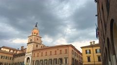Modena, Italy. Duomo facade and surrounding buildings Stock Footage