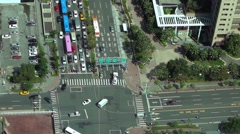 Aerial view of Business district, office tower and traffic driving in Taipei-Dan Stock Footage