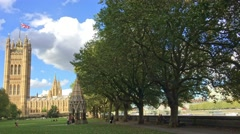 Beautiful view of Victoria Gardens and Houses of Parliament, London Stock Footage