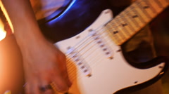 Closeup Guy Plays Guitar in Low Pose in Night Bar Stock Footage