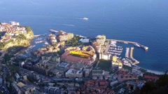 Aerial Panoramic View of the Monaco-Ville and Fontvieille District Stock Footage