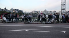 Rikshaw on westminster bridge Stock Footage