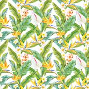 Tropical watercolor pattern Stock Illustration