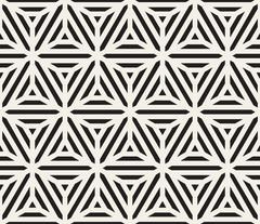 Vector Seamless Black And White Triangle Lines Geometric Grid Pattern Stock Illustration