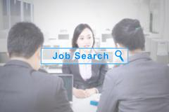 Job search button and interview background Stock Photos