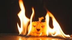 Pumpkin in fire movement slow motion, beautiful fire movement, Stock Footage