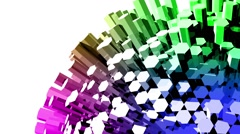 Abstract background colorful hexagon bar 3d rendered rotate loopable Stock Footage