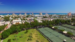 Tennis Fields and city park, aerial view of Miami Stock Footage