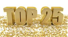 TOP 25 - with stars on white background - High quality 3D Render Stock Illustration