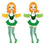 St. Patrick Irish Girl Beer Stock Illustration
