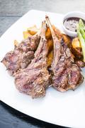 Grilled lamb chop steak Stock Photos